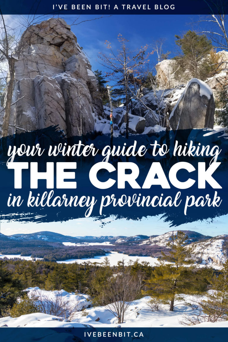 Many travel to Killarney Provincial Park for The Crack but are you brave enough for a winter adventure? This guide tells all on how to tackle The Crack in winter. Winter hiking in Ontario. Best Ontario Hikes in winter. Ontario Parks hiking trails.   #Travel #Canada #Ontario #ProvincialPark #Killarney   IveBeenBit.ca