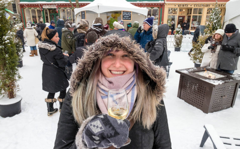 Lindsay Holding Glass of Icewine at the Niagara Icewine Festival :: I've Been Bit! Travel Blog