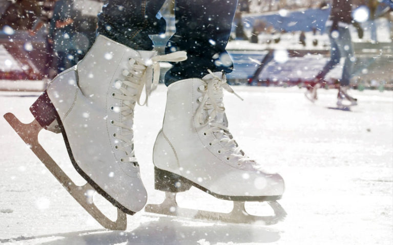 Close Up of Figure Skates on an Ontario Skate Trail :: I've Been Bit! Travel Blog