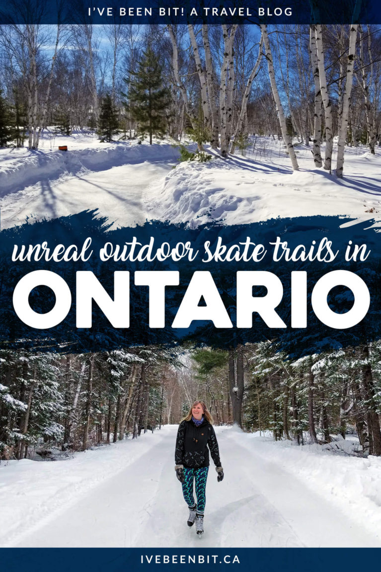 Skate trails are all the rage this winter! Check out these outdoor skating trails in Ontario for some snow-mazing winter fun across the province. One of the things to do in Ontario in the winter months. | #Travel #Canada #Ontario #Winter #WinterTravel #Skating #IceSkating | IveBeenBit.ca