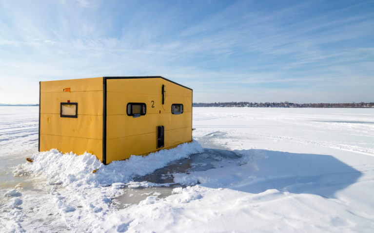 Yellow Ice Fishing Hut on Frozen Lake Scugog in Durham Region :: I've Been Bit! Travel Blog