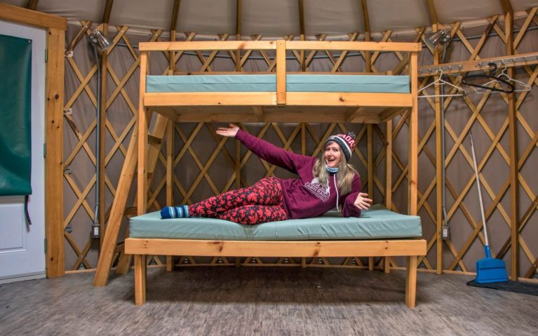 Lindsay Laying on Bunk Bed in Yurt at Killarney Provincial Park :: I've Been Bit! Travel Blog