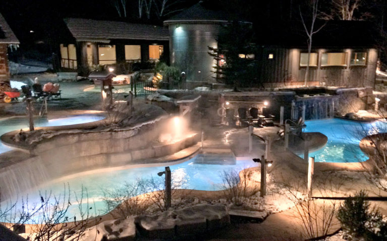 View of the Scandinave Spa at Night :: I've Been Bit! Travel Blog