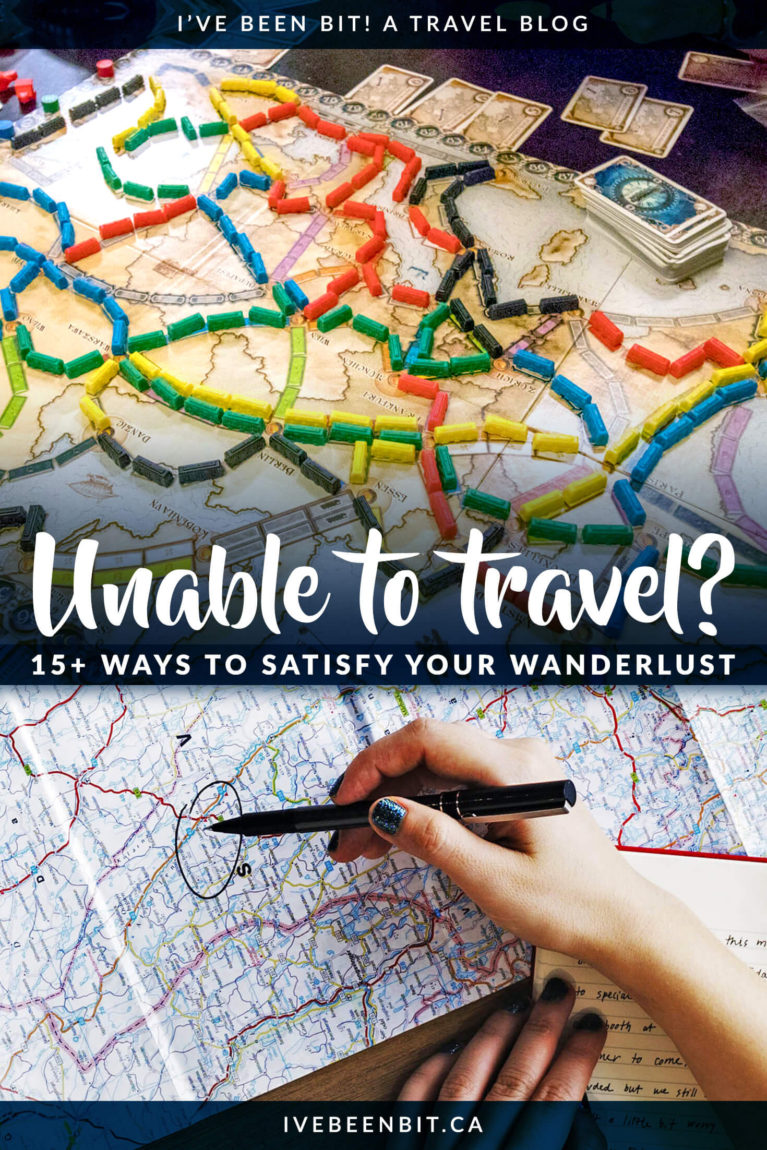 Stuck at home and can't travel the world like you want to? Here are 15+ ideas to quench your thirst for travel until you can get on the road once again! Things to do when you're unable to travel. | #Travel #TravelTips | IveBeenBit.ca
