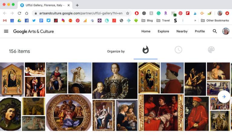 Screenshot of the Uffizi Gallery Virtual Tour Page :: I've Been Bit! Travel Blog