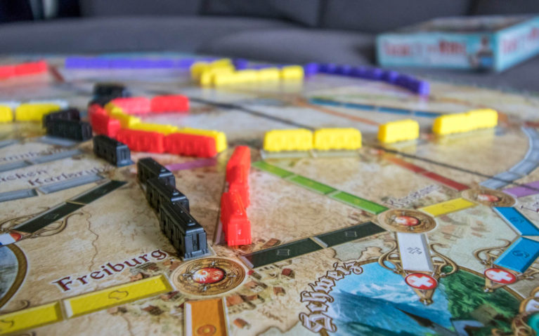 Close Up Shot of Trains in Ticket to Ride Germany Game :: I've Been Bit! Travel Blog