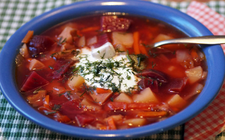 Bowl of Borscht with Sour Cream in Russia :: I've Been Bit! Travel Blog