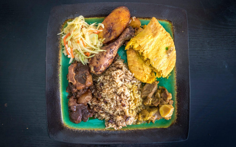 Plate of Take Out from Rainbow Caribbean Cuisine, a Downtown Kitchener Restaurant :: I've Been Bit! Travel Blog