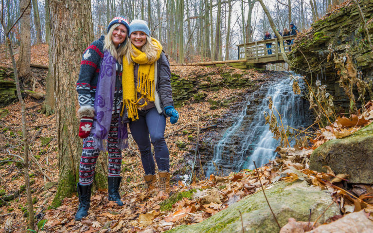 Lindsay and Ashlyn from the Lost Girl's Guide at a Waterfall in Hamilton :: I've Been Bit! Travel Blog