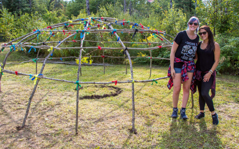 Lindsay and Lindsey With the Start of a Sweat Lodge at the Batchewana First Nation Pow Wow :: I've Been Bit! Travel Blog