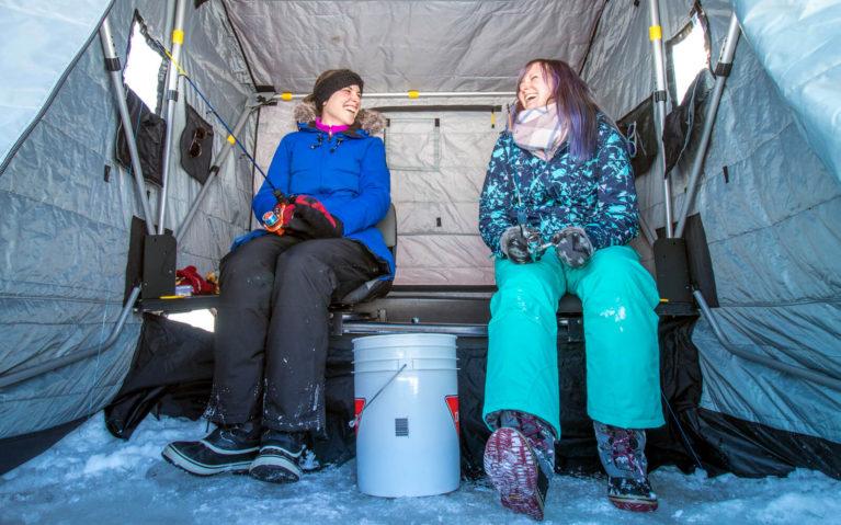 Tara and Lindsay Ice Fishing at Windy Lake Provincial Park :: I've Been Bit! Travel Blog