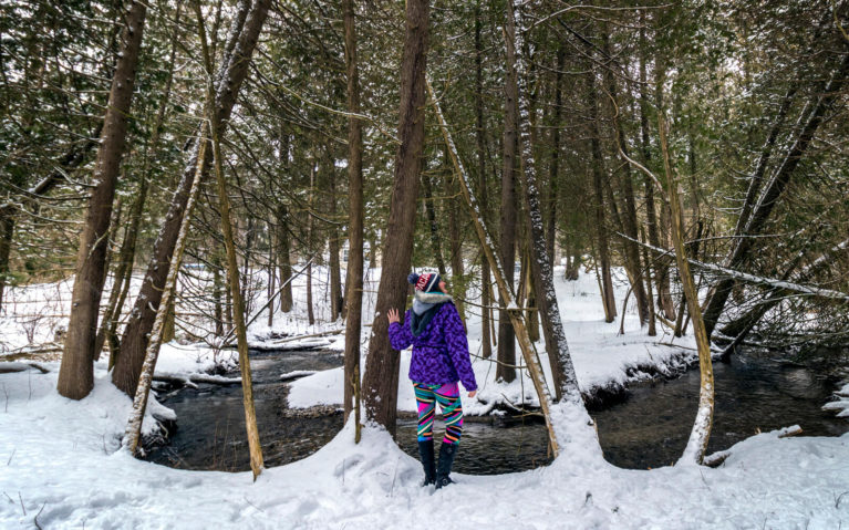 Lindsay Standing by a River on a Durham Region Ontario Road Trip :: I've Been Bit! Travel Blog