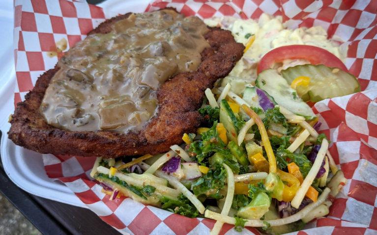 Schnitzel Dinner with Mushroom Sauce, Potato Salad and Coleslaw from Berlin 95 Food Truck in Kitchener :: I've Been Bit! Travel Blog