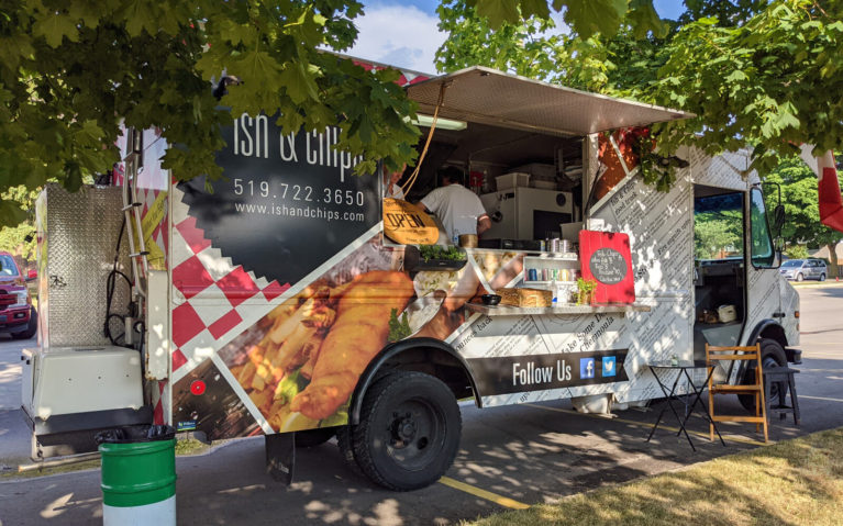 White Ish & Chips Food Truck with Photo of Fish and Chips on It :: I've Been Bit! Travel Blog