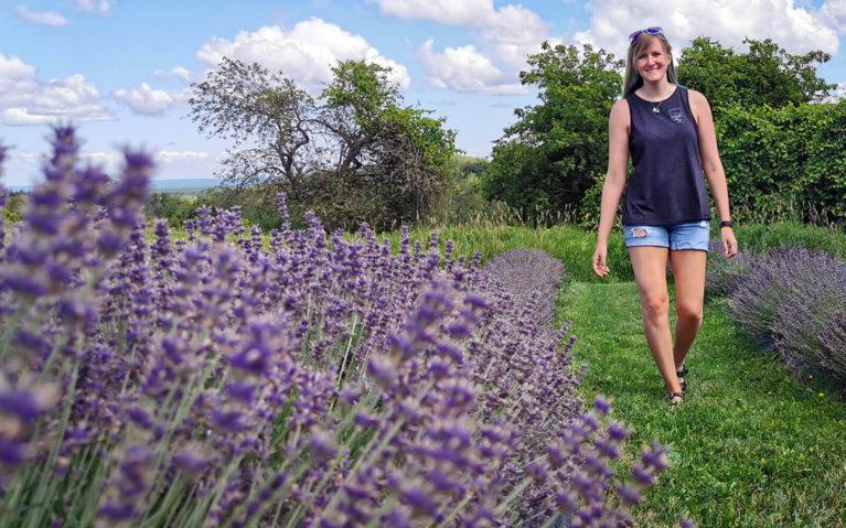 Lindsay Walking Through the Ontario Lavender Farm Fields :: I've Been Bit! Travel Blog