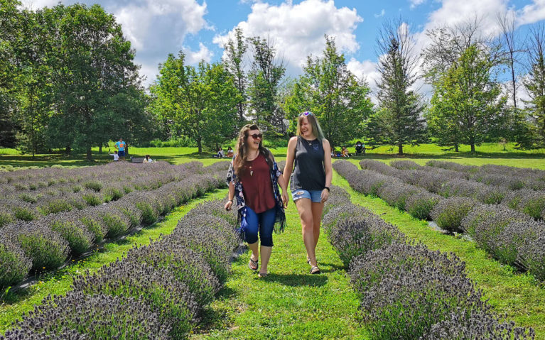 Lindsay and Steph Walking Through An Ontario Lavender Farm :: I've Been Bit! Travel Blog
