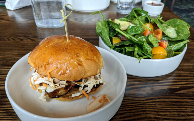 Pulled Pork on a Bun with Coleslaw and a Side Salad in White Round Bowls :: I've Been Bit! Travel Blog
