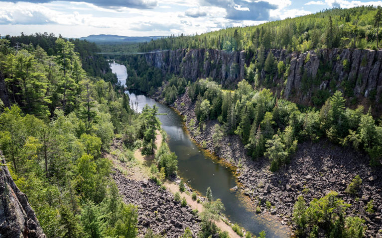 Views of Bat Lake from the Longest Suspension Bridge in Canada at Eagle Canyon Adventures :: I've Been Bit! Travel Blog