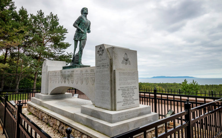 The Beautiful Terry Fox Memorial with the Sleeping Giant Off in the Distance :: I've Been Bit! Travel Blog
