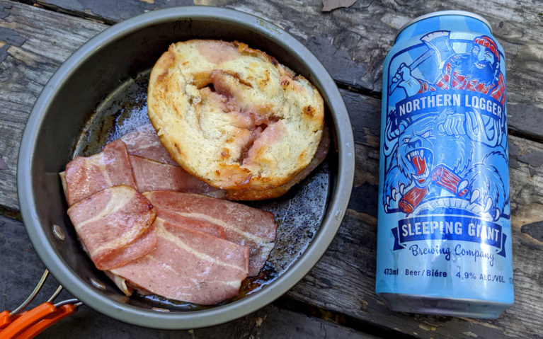 Turkey Bacon, Fried Persian Donut and a Can of Northern Logger Beer from Sleeping Giant Brewery :: I've Been Bit! Travel Blog