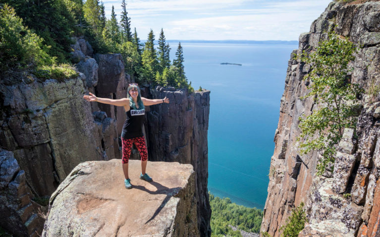 Lindsay standing at the Top of the Giant in Sleeping Giant Provincial Park :: I've Been Bit! Travel Blog