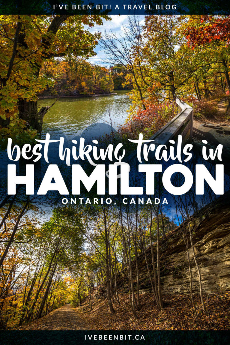 Hamilton, Ontario, Canada is a hiker's paradise! If you love waterfalls, lookouts & being in nature, you'll adore this list of the best Hamilton hiking trails! Includes Dundas Peak, Webster's Falls, Tew's Falls, Albion Falls & more! | #Ontario #Canada #Hiking | Hiking trails in Hamilton | Hikes in Hamilton | Things to Do in Hamilton | Walking trails in Hamilton | Where to hike in Ontario I Ontario Hiking Trails I Ontario Travel I Hike Ontario I Walking paths in Ontario | IveBeenBit.ca