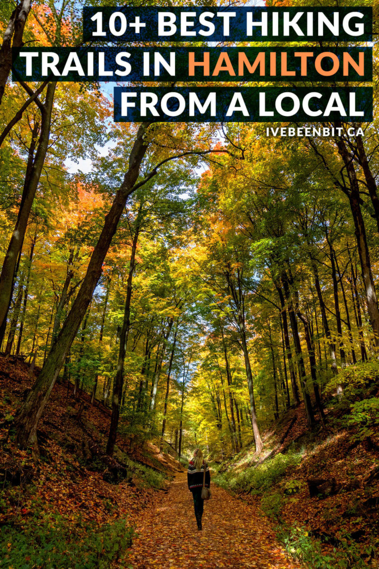 Hamilton, Ontario, Canada is a hiker's paradise! If you love waterfalls, lookouts & being in nature, you'll adore this list of the best Hamilton hiking trails! Includes Dundas Peak, Webster's Falls, Tew's Falls, Albion Falls & more! | #Ontario #Canada #Hiking | Hiking trails in Hamilton | Hikes in Hamilton | Walking trails in Hamilton | Things to Do in Hamilton | Where to hike in Ontario I Ontario Hiking Trails I Ontario Travel I Hike Ontario I Walking paths in Ontario | IveBeenBit.ca