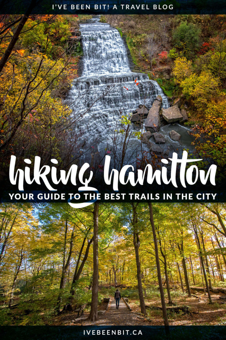 Hamilton in Ontario, Canada is a hiker's paradise! If you love waterfalls, lookouts & being in nature, you'll adore this list of the best Hamilton hiking trails! Includes Dundas Peak, Webster's Falls, Tew's Falls, Albion Falls & more! | #Ontario #Canada #Hiking | Hiking trails in Hamilton | Hikes in Hamilton | Things to Do in Hamilton | Walking trails in Hamilton | Where to hike in Ontario I Ontario Hiking Trails I Ontario Travel I Hike Ontario I Walking paths in Ontario | IveBeenBit.ca