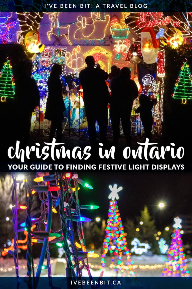 Looking for some festive fun this holiday season? You won't want to miss these Christmas Lights in Ontario! Featuring holiday light festivals in Toronto, Niagara Falls, Blue Mountain and more! | Ontario Christmas | Christmas in Toronto | Niagara Falls Christmas Lights | Christmas in Niagara Falls | Ontario Travel | Ontario Winter Getaway | Where to Go in Ontario at Christmas Time | Where to Go in Ontario in Winter | #Christmas | IveBeenBit.ca