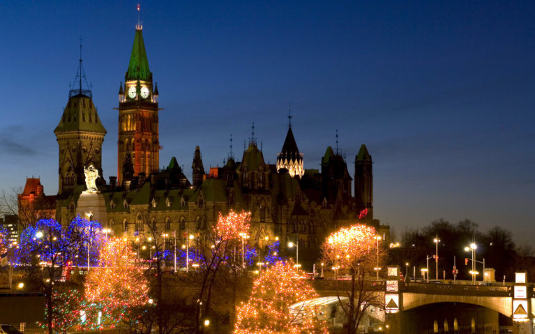 The Parliament Buildings in Ottawa Surrounded by Christmas Lights :: I've Been Bit! Travel Blog