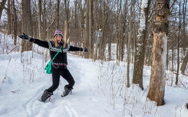 Lindsay Excited to Be Out Hiking in the Winter :: I've Been Bit! Travel Blog