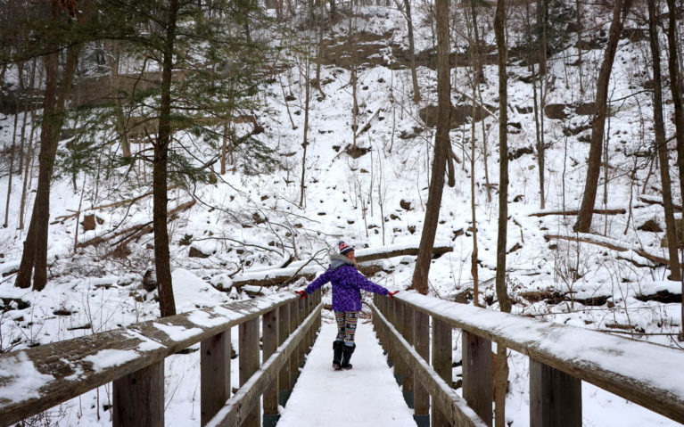 Lindsay Crossing the Bridge to Tiffany Falls in Hamilton, Ontario :: I've Been Bit! Travel Blog