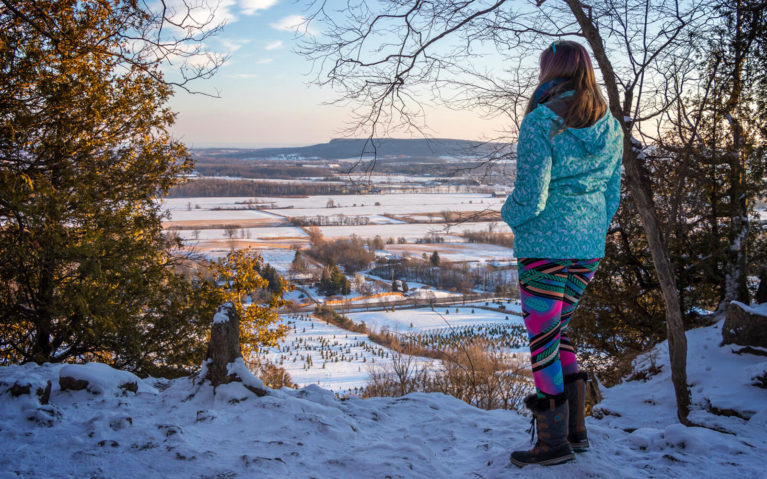 Lindsay Admiring the Golden Hour Colours from the Rattlesnake Point Lookout in Ontario :: I've Been Bit! Travel Blog