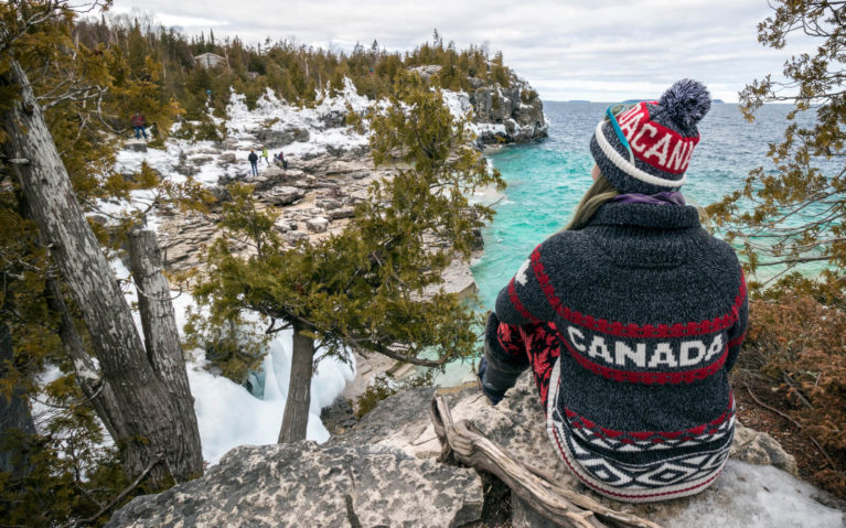 Lindsay Overlooking Georgian Bay at Bruce Peninsula National Park in Winter :: I've Been Bit! Travel Blog