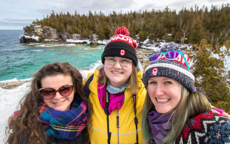 Stephanie, Olivia and Lindsay Hanging Out at Bruce Peninsula National Park in the Winter :: I've Been Bit! Travel Blog