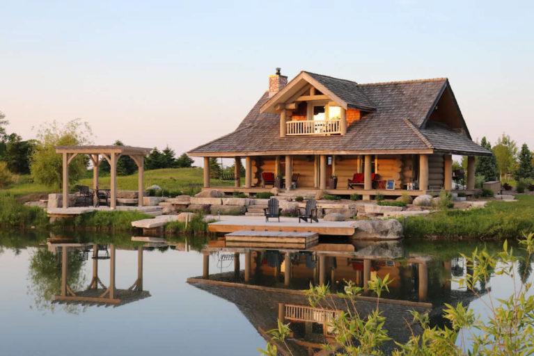 Log Cabin on Pond at Sunset :: I've Been Bit! Travel Blog