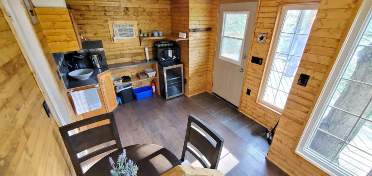 Kitchen Inside the Niagara Region Treehouse - Image From Airbnb :: I've Been Bit! Travel Blog