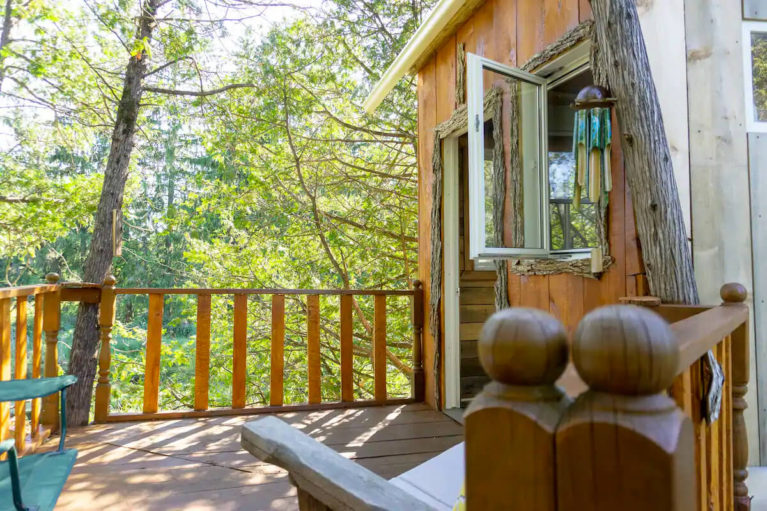 View of the Ottawa Treehouse's Patio - Image from Airbnb :: I've Been Bit! Travel Blog