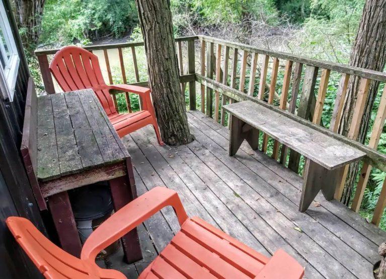 Sydenham River Treehouse Porch - Courtesy of Airbnb :: I've Been Bit! Travel Blog