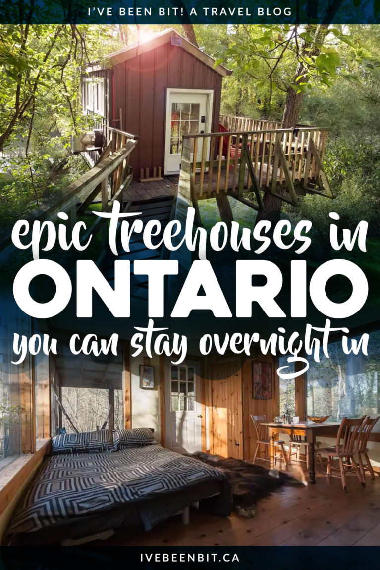 If you're looking for unique Ontario getaway or if staying overnight in a treehouse is on your bucket list, check out these epic treehouse Airbnbs in Ontario! | Weekend Getaway Ideas Ontario | Unique Accommodation in Ontario | Unique Overnight Stays in Ontario | Ontario Treehouse | Glamping in Ontario Canada | Best Airbnb in Ontario | Romantic Airbnb in Ontario | Winter Airbnbs in Ontario | Treehouse Ontario | Treehouses in Canada | #Travel #Treehouse | IveBeenBit.ca