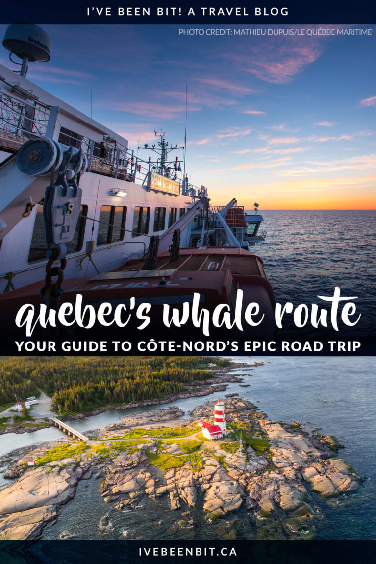 The Quebec Whale Route is one of the most stunning road trips in Canada. See all the stops you need to make in this guide to Route 138 in Cote Nord Quebec! | @quebecmaritime | Quebec Road Trip | Things to Do on a Quebec Road Trip | Road Trip au Quebec | Road Trip Cote Nord Quebec | Canada Road Trip Ideas | Sept Iles Quebec | Tadoussac Baleines | Routes des Baleines au Quebec | #RoadTrip #Quebec #Summer | IveBeenBit.ca