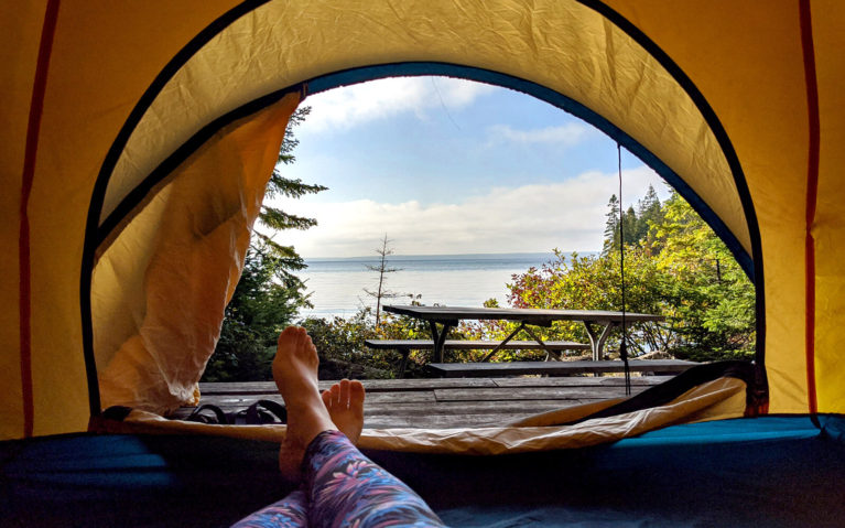 View From the Tent of a Campsite on Flowerpot Island