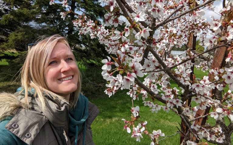 Lindsay Looking At the Cherry Blossoms :: I've Been Bit! Travel Blog