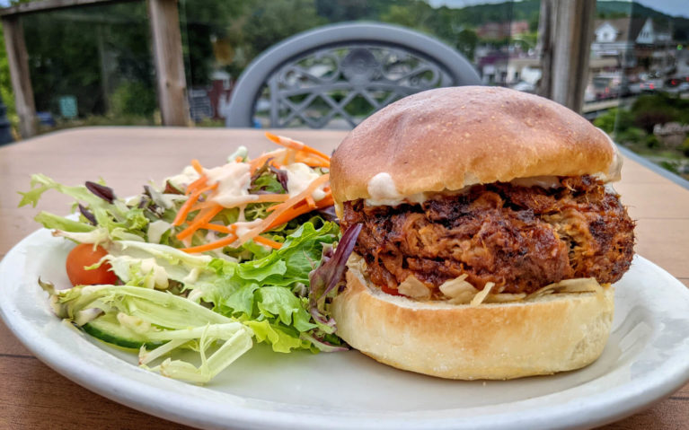 Pulled Pork Sandwich from the Granite Restaurant with a Side Salad :: I've Been Bit! Travel Blog