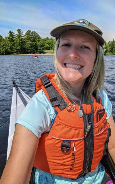 Lindsay Paddling in her Kayak on Silent Lake :: I've Been Bit! Travel Blog