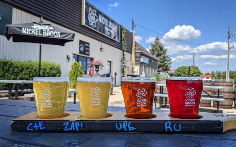 Flight of Beers on Nickel Brook Brewing's Patio :: I've Been Bit! Travel Blog