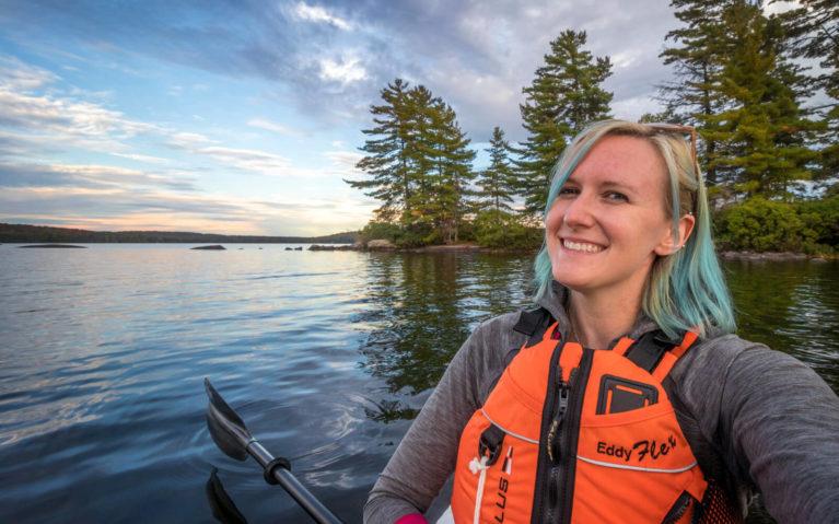 Lindsay In Her Kayak at Golden Hour at Mikisew PP :: I've Been Bit! Travel Blog